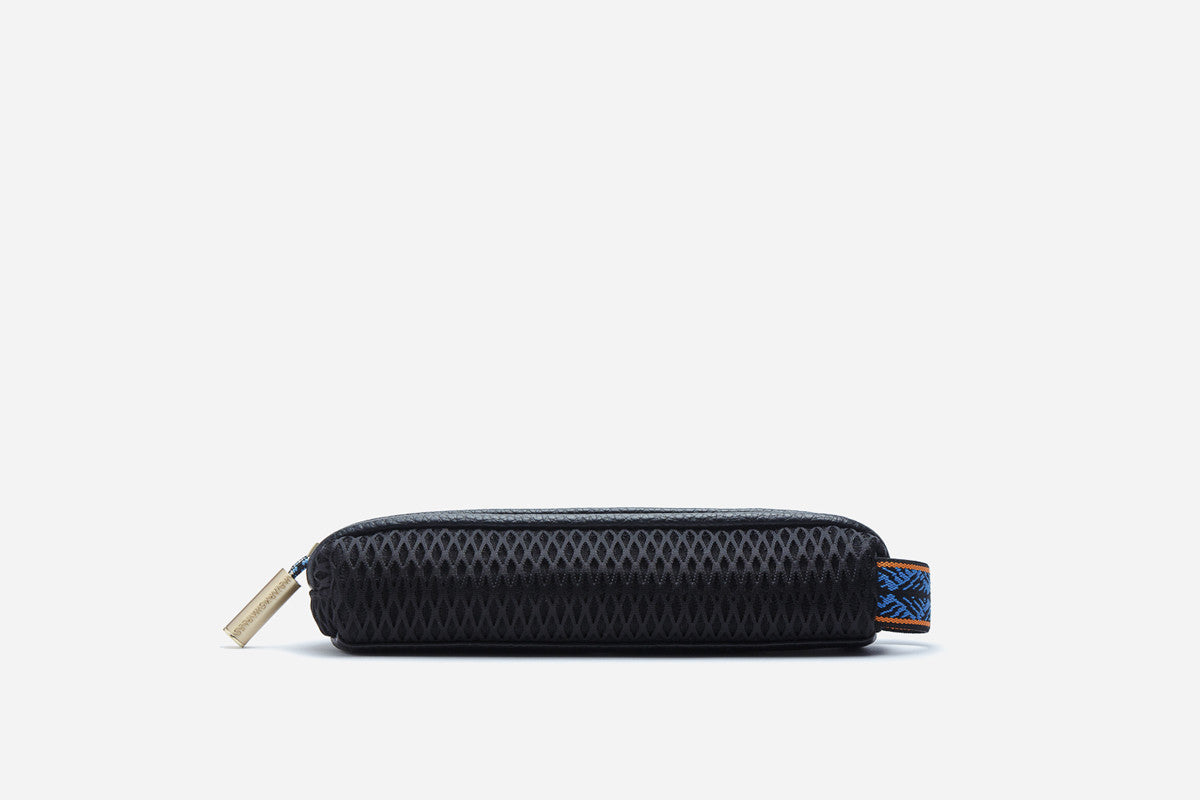 Black exterior of blue moon  pencil case with zippered closure & elastic handle that can be attached to luggage or handbag clips