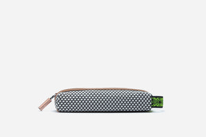 Front view of the sultry pop non toxic pencil case with elastic handle that can be attached to luggage or handbag clips
