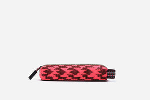 pink southwest sunrise pencil case with zippered closure & elastic handle that can be attached to luggage or handbag clips