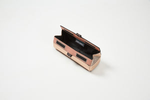 rose gold brush case open with black lining magnetic closure