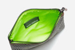 neon green interior of black and white polka dot talk back pouchette opened wide to display ample storage