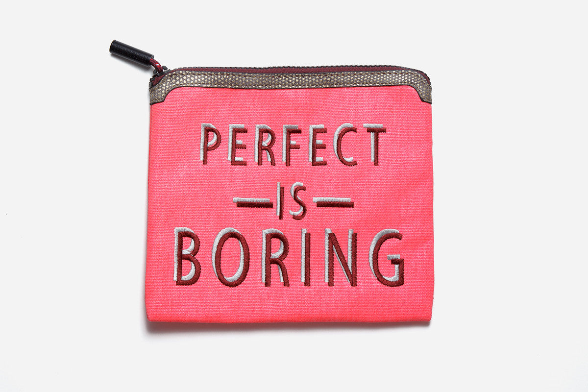Pink Perfect is Boring southwest sunrise non toxic talk back pouch with vegan leather trim