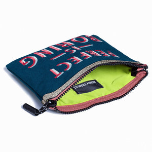 PERFECT IS BORING MAKEUP BAG with neon citron lining