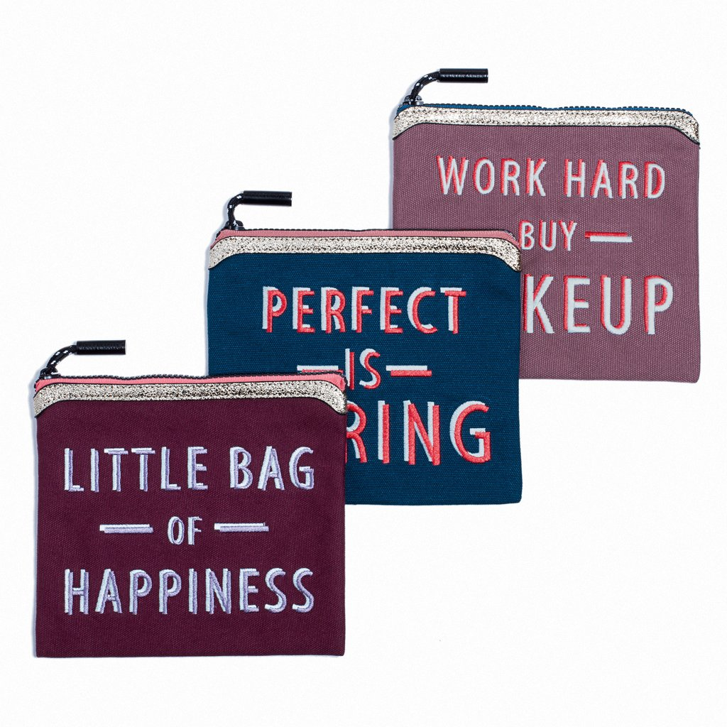 'PERFECT IS BORING' 'LITTLE BAG OF HAPPINESS' 'WORK HARD BUY MAKEUP' bag set Henry Charles