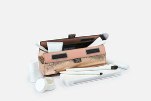 case for long pro brushes in pink rose gold with black lining