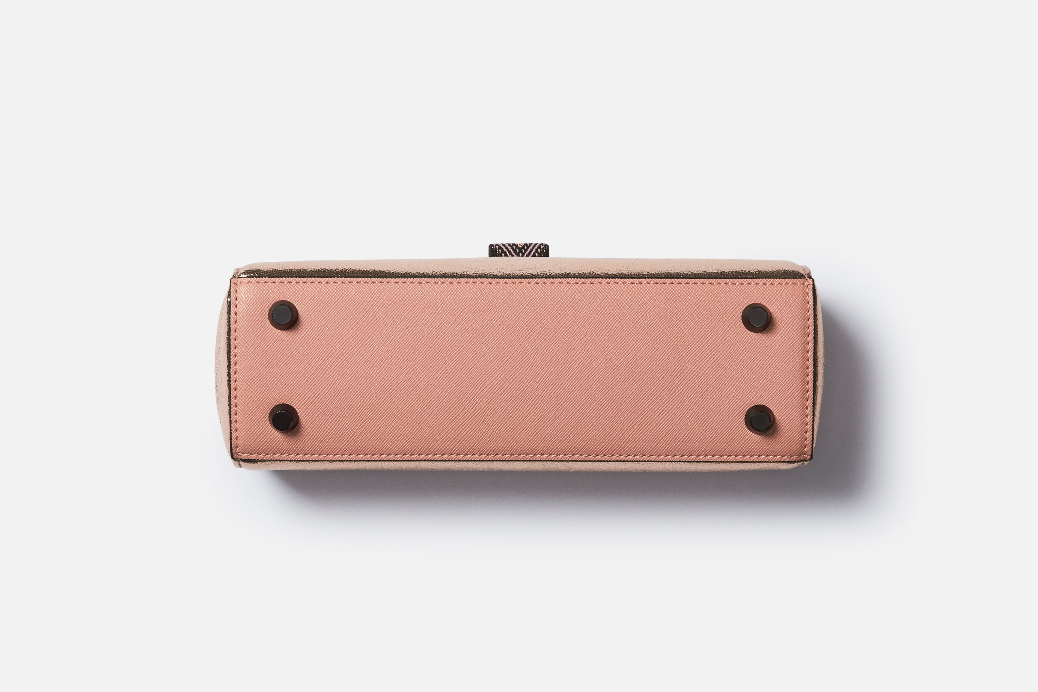 dusty rose luxury makeup case bottom in vegan leather