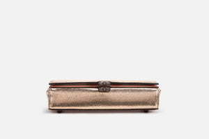 rose gold makeup case with elastic loops front view