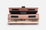 rose gold makeup bag with blush saffiano trim and magnets