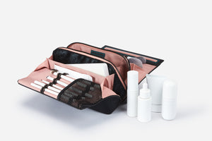 Designer makeup bag case with brush loop compartments