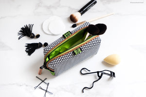 small makeup pouch for handbag or purse for lipsticks tools and compacts