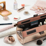 editorial photo of henry charles makeup brush bag with clean beauty brands