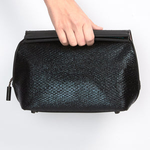 vegan leather cosmetic bag handbag case in metallic black exotic snake