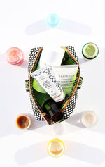 travel makeup bag for natural luxury skincare and toiletries and 3oz bottles