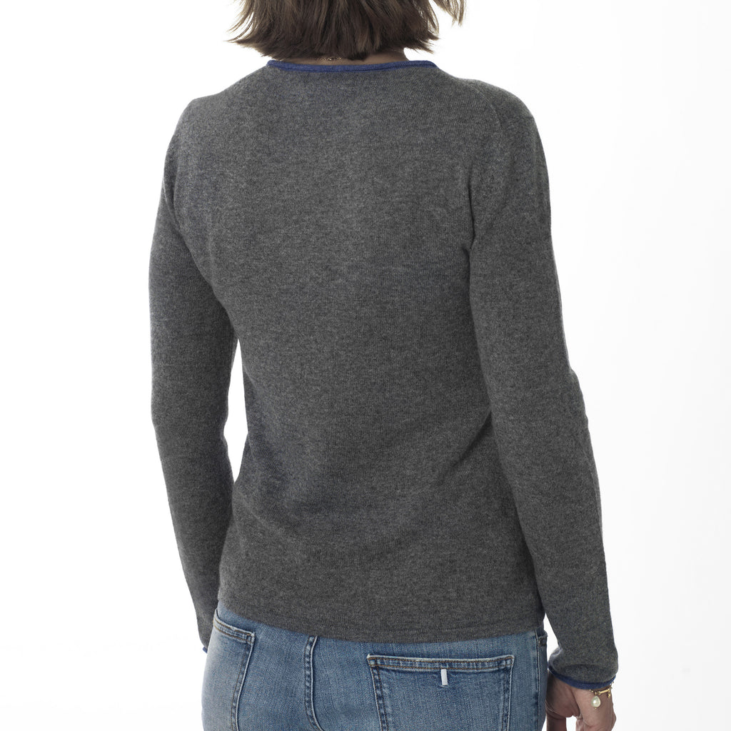 Round neck pullover with contrast trims - Medium Grey