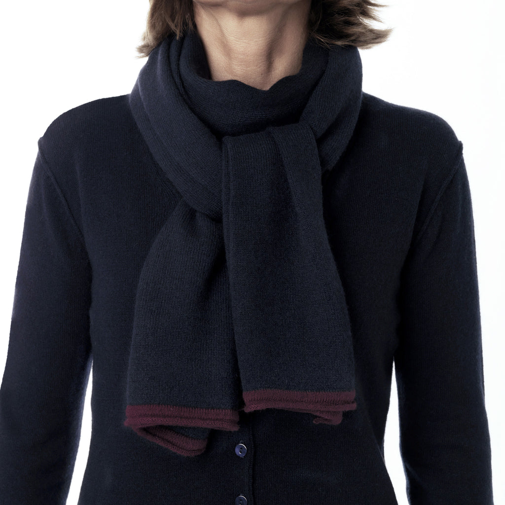 Dark Navy scarf with contrast ends