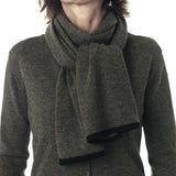 Dusty Olive scarf with contrast ends