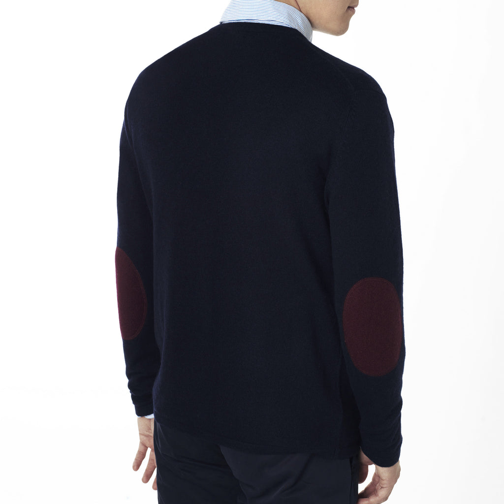 Mens round neck pullover with patches - Dark Navy / Bordeaux