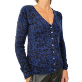 Deep V-neck cardigan - Leopard Blue and Black