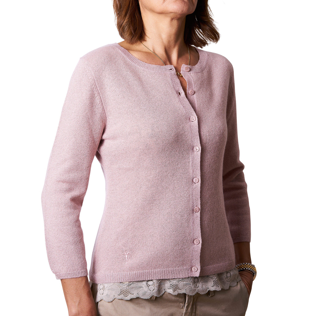 Cardigan with 3/4 sleeves - Rose Dust with lurex