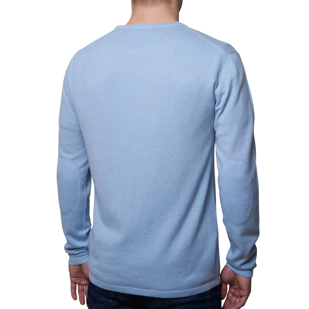 Mens round neck pullover with patches - Dusty Blue
