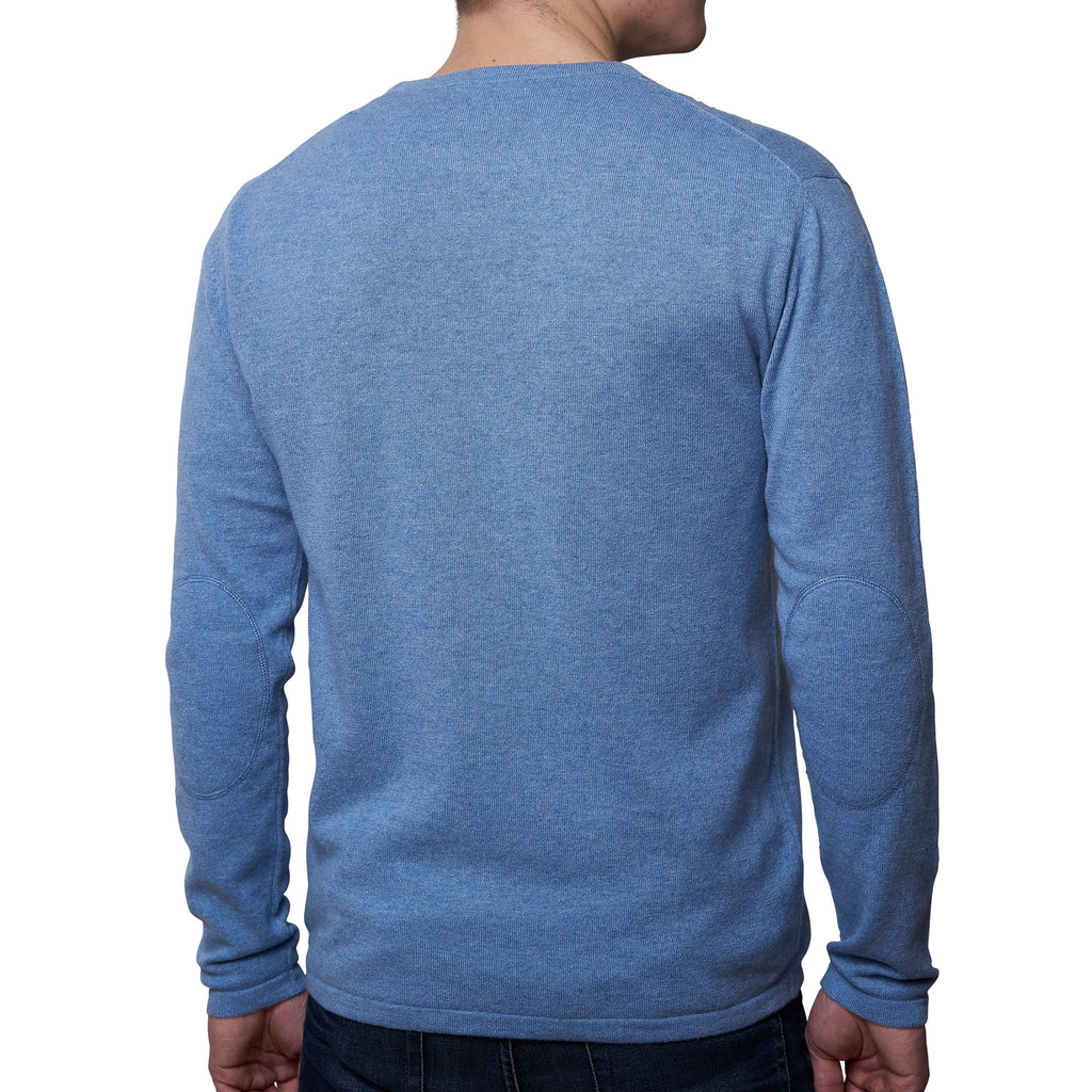 Mens round neck pullover with patches - Turtle Dove Blue
