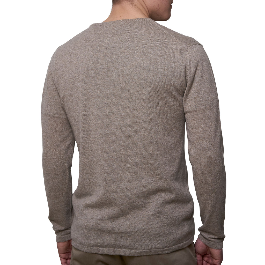 Mens round neck pullover with patches - Deep Sand