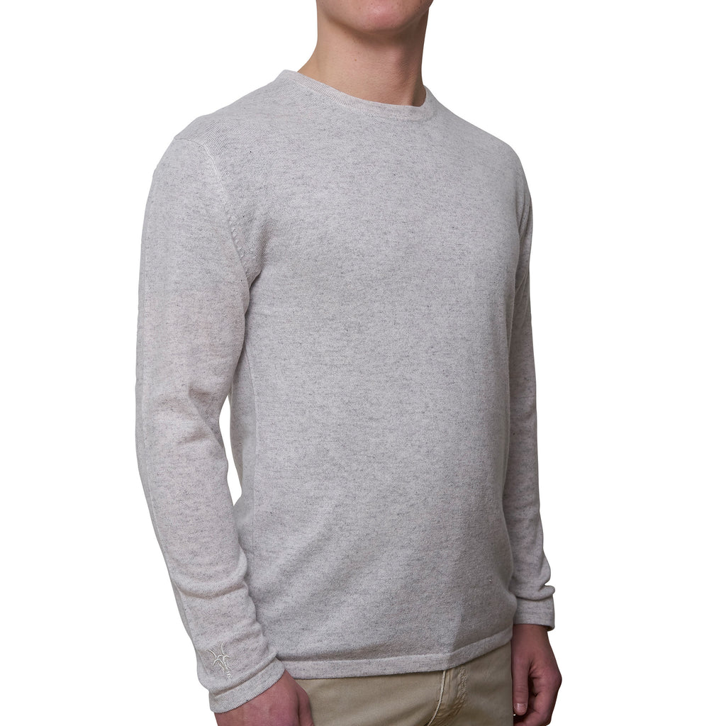 Mens round neck pullover with patches - Glacier Grey