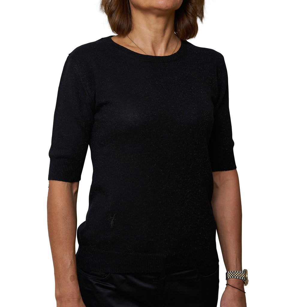 Round neck short sleeve pullover - Black with Black Lurex