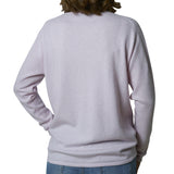 Oversized V-neck pullover - Parfait rose