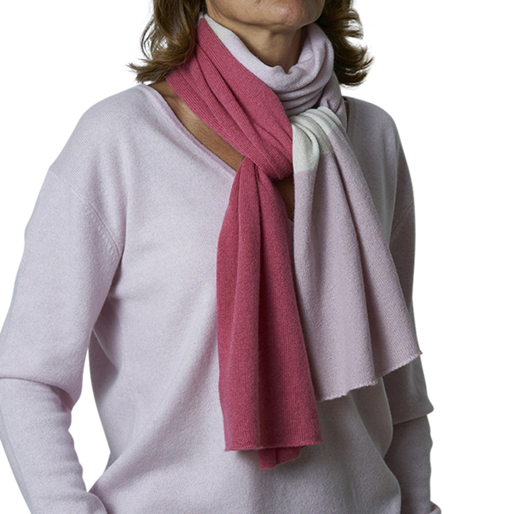 Block scarf with lurex mixed rose