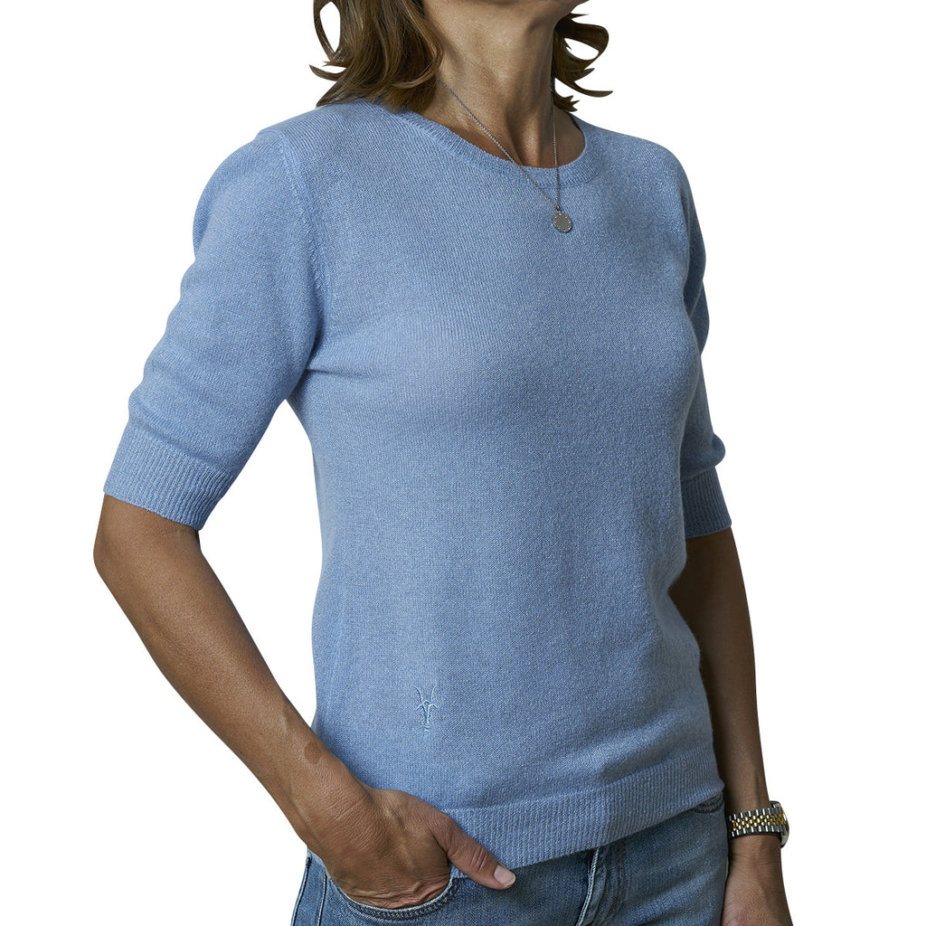 Round neck short sleeve pullover - Dusty Blue with Blue Lurex