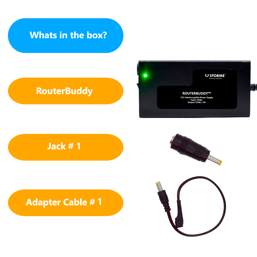 Storme RouterBuddy UPS Uninterrupted Power Backup for WiFi Routers and Broadband Modem Up to 4 Hours Power Backup to Wi-Fi Router 12V/1A