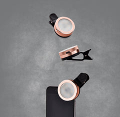 That Selphie Pro Thing! Rose-gold clip-on selphie light