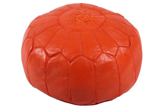 Leather pouf in apricot 27