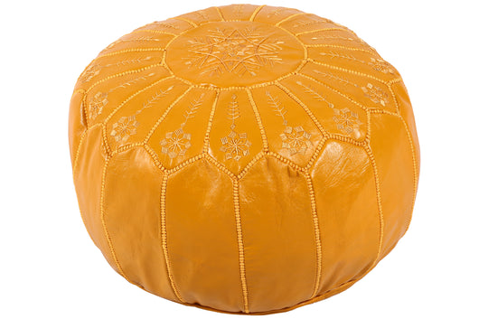 Yellow leather pouf 29