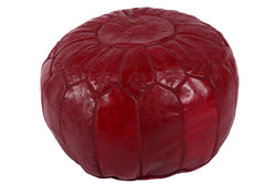 Leather Pouf in cinnamon brown 31