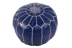 Leather Pouf in navy blue with white stitching 32