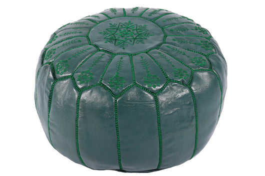 Green embroidered leather pouf 33