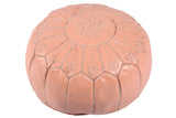 Leather pouf in coral pink 34
