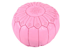 Embroidered leather pouf, pink lemonade 35