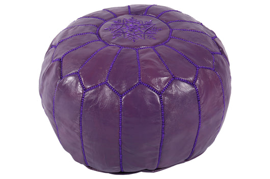 Leather pouf, plum 37