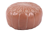 Light brown embroidered leather pouf 38
