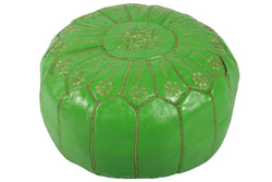 Leather pouf of grass green with golden stitching 39