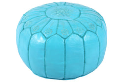 Turquoise embroidered leather pouf 43