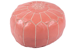 Salmon leather pouf with white stitching 45
