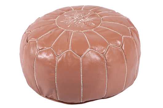 Leather pouf in caramel brown 46