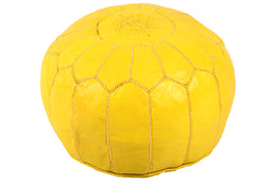 Leather pouf, lemon 48