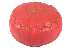 Cherry pink leather pouf with golden stitching 49