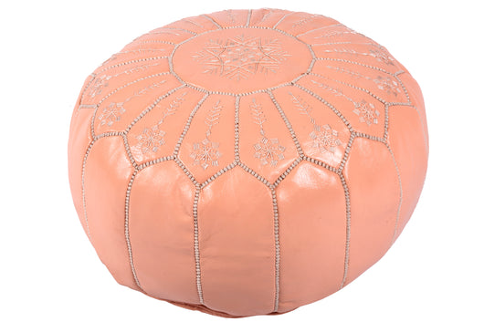 Leather pouf in salmon with embroidery50