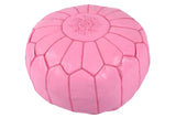 Pink leather pouf with plum stitching 52